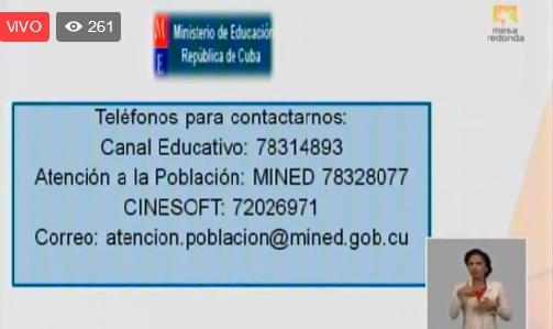 Teléfonos del Ministerio de Educación a disposición del pueblo
