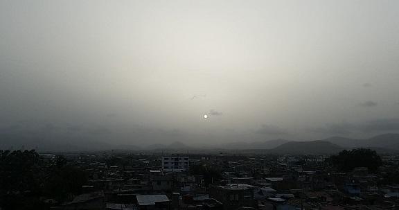 Nubes de polvos del Sahara Occidental impactan sobre el Caribe.