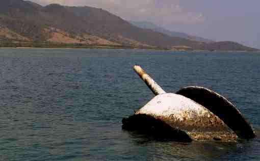 Ruinas de la batalla naval en las costas de Juan González en SantiagRuinas de la batalla naval en las costas de Juan González en Santiago de Cuba.