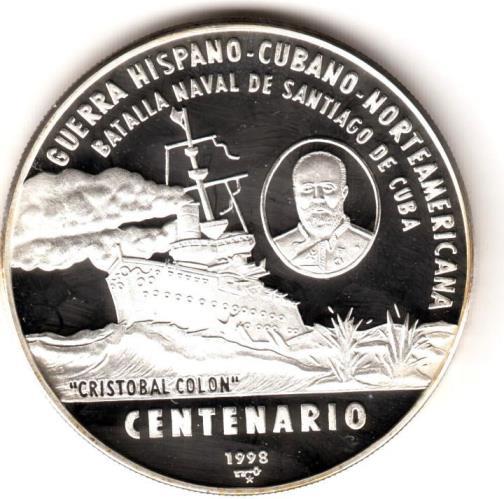Moneda por el centenario de la batalla naval ocurrida en Santiago de Cuba en 1898.