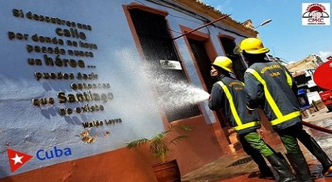 Medidas sanitarias en Santiago de Cuba. Foto: Santiago Romero Chang.