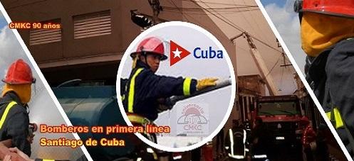 Bomberos en la primera línea en Santiago de Cuba. Edición: Santiago Romero Chang: