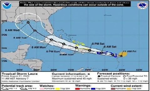Estado del tiempo por la tormenta tropical Laura y otras formaciones actuales en el Caribe.