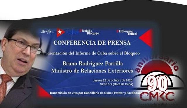 Presentación del canciller cubano Bruno Rodríguez sobre el impacto del bloqueo a Cuba.