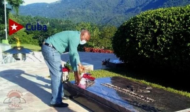 Homenaje al Comandante de la Revolución Juan Almeida Bosque, por el vicepresidente cubano Salvador Valdés Mesa en el tercer frente.